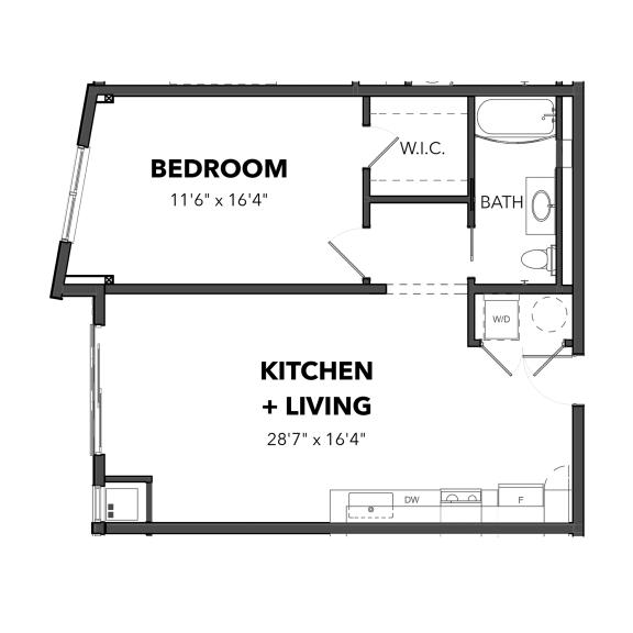 Floor Plan  Bakery Living A6, apartments in Pittsburgh, Pennsylvania
