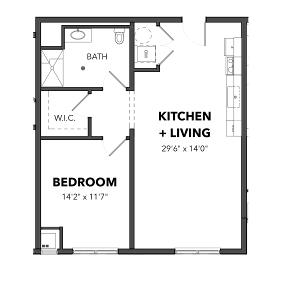 Floor Plan  Bakery Living One Bedroom 7, apartments in Pittsburgh, Pennsylvania 15206