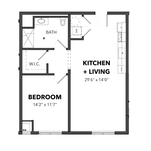 Floor Plan  Bakery Living A7, apartments in Shadyside Pittsburgh, PA