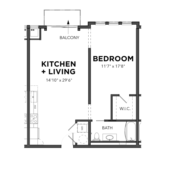 Floor Plan  Bakery Living A8, apartments in Shadyside Pittsburgh, PA