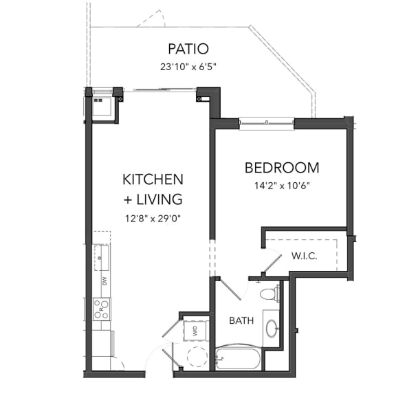 Floor Plan  Bakery Living A9, apartments in Shadyside Pittsburgh, PA