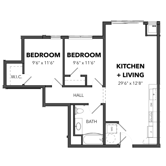 Floor Plan  Bakery Living Two Bedroom 1, apartments in Pittsburgh, PA