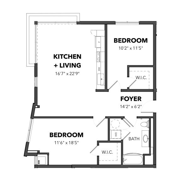 Floor Plan  Bakery Living Two Bedroom 2, apartments in Pittsburgh, Pennsylvania 15206