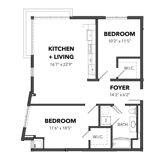Floor Plan  Bakery Living B2, apartments in Pittsburgh, Pennsylvania