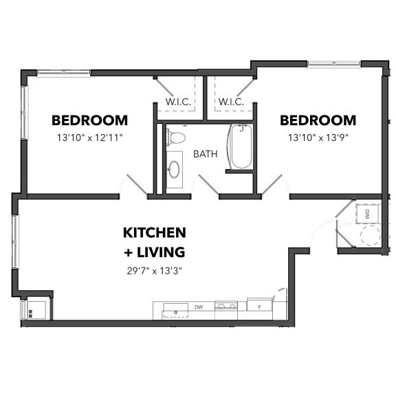 Floor Plan  Bakery Living Two Bedroom 3, apartments in Pittsburgh, 15206