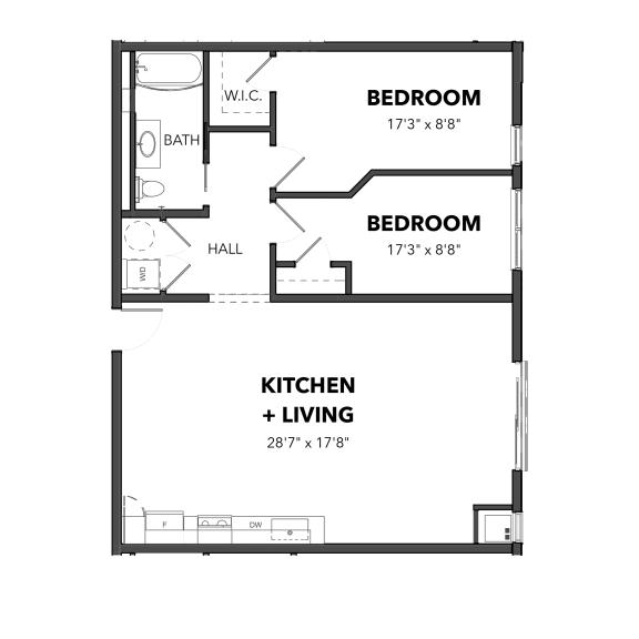 Floor Plan  Bakery Living Two Bedroom 4, apartments in Pittsburgh, Pennsylvania