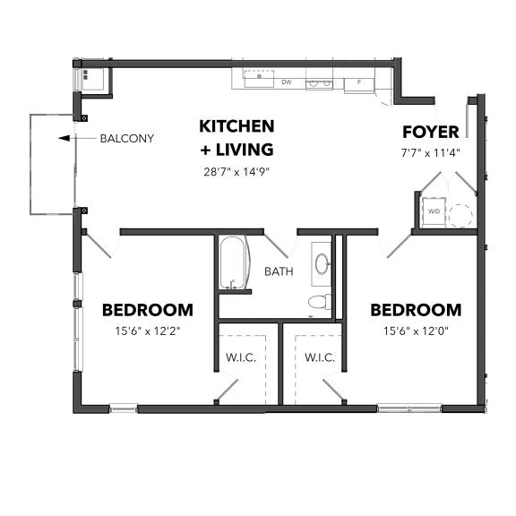 Floor Plan  Bakery Living Two Bedroom 5, apartments in Pittsburgh, Pennsylvania 15206