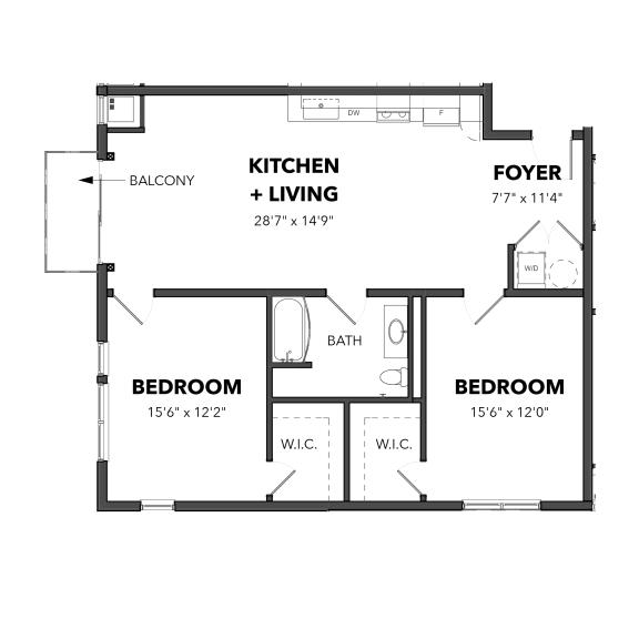 Floor Plan  Bakery Living B5, apartments in Pittsburgh, Pennsylvania