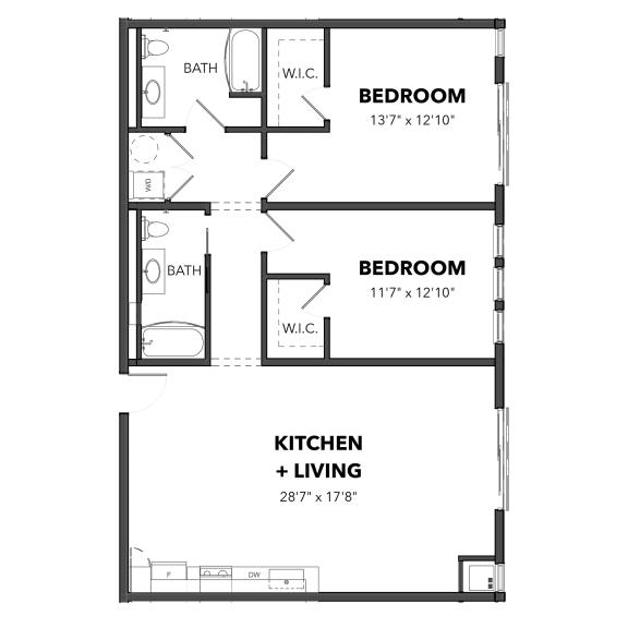 Floor Plan  Bakery Living The Two Bedroom 6