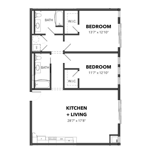 Floor Plan  Bakery Living B6, apartments in Pittsburgh, Pennsylvania