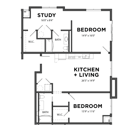 Floor Plan  Bakery Living B7, apartments in Pittsburgh, Pennsylvania
