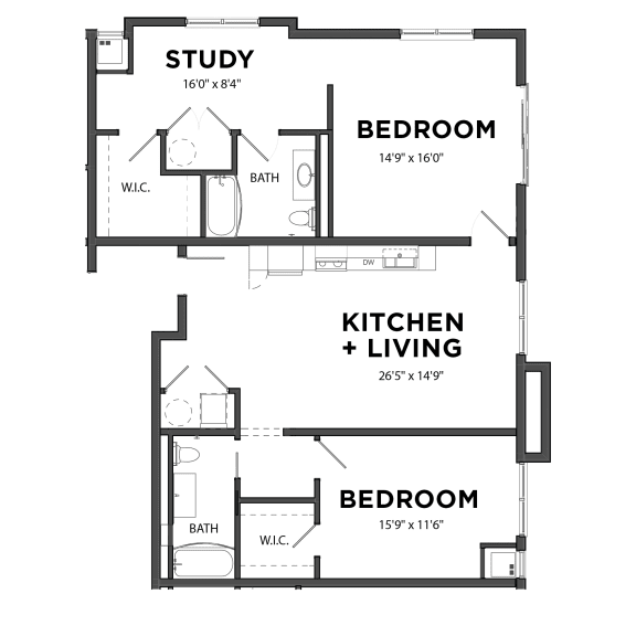Floor Plan  Bakery Living Two Bedroom 7, apartments in Pittsburgh, Pennsylvania 15206