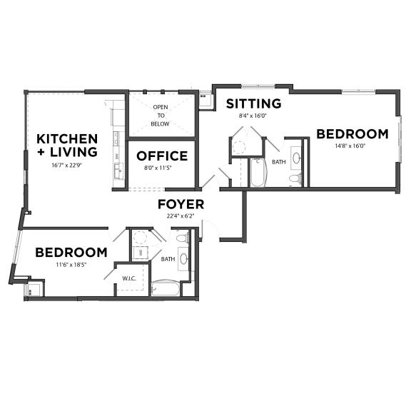 Floor Plan  Bakery Living Two Bedroom 8, apartments in Pittsburgh, Pennsylvania