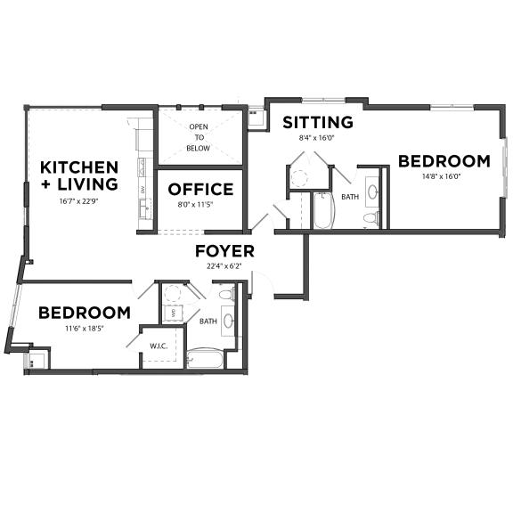 Floor Plan  Bakery Living B8, apartments in Pittsburgh, Pennsylvania