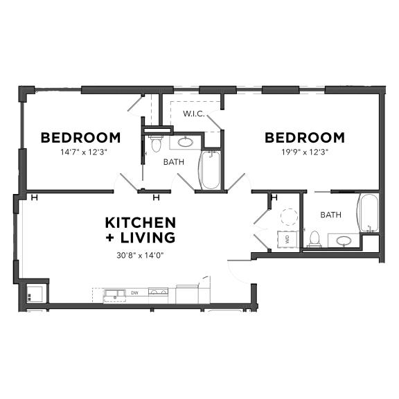 Floor Plan  Bakery Living B9, apartments in Pittsburgh, Pennsylvania