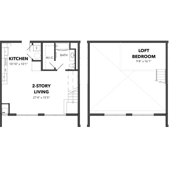 Floor Plan  Bakery Living C1, apartments in Pittsburgh, Pennsylvania