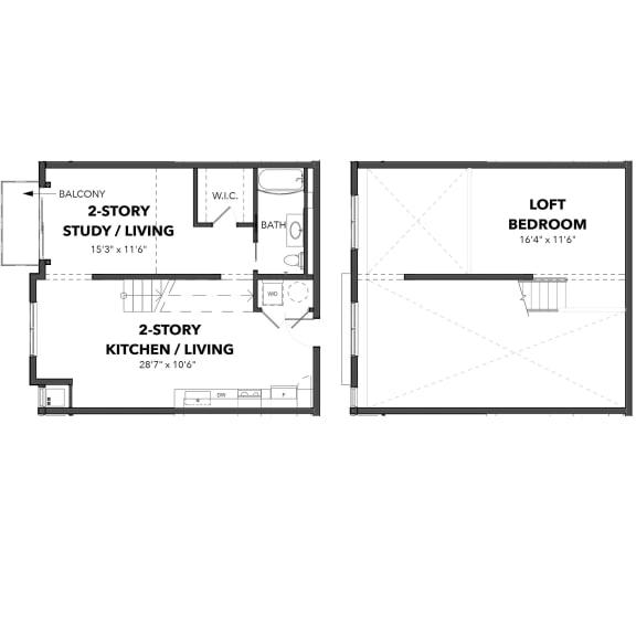 Floor Plan  Bakery Living C2, apartments in Pittsburgh, Pennsylvania
