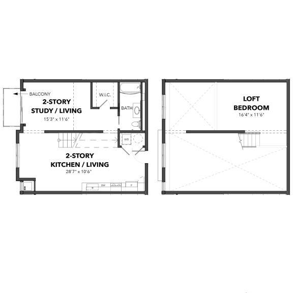 Floor Plan  Bakery Living The Loft 2, apartments in Pennsylvania 15206
