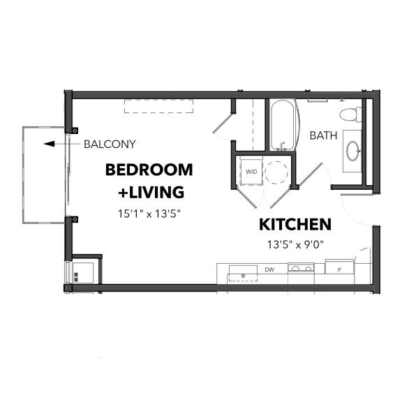 Floor Plan  Bakery Living Micro 1, apartments in Pittsburgh, Pennsylvania