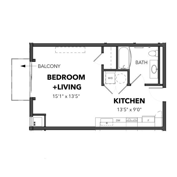 Floor Plan  Bakery Living D1, apartments in Pittsburgh, Pennsylvania