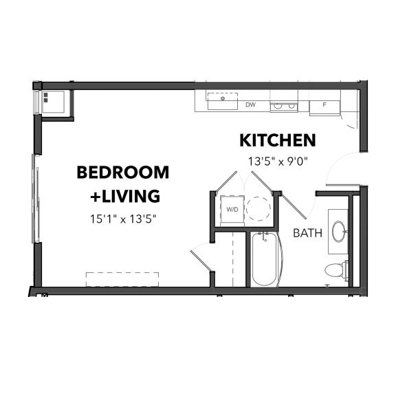 Floor Plan  Bakery Living Micro 2, apartments in Pittsburgh, Pennsylvania