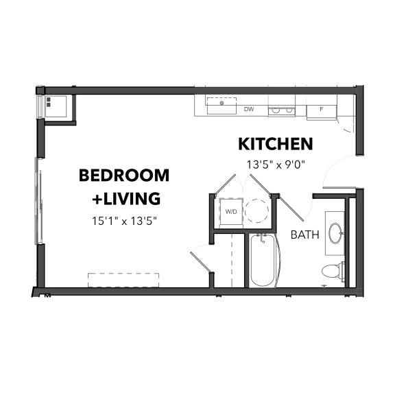 Floor Plan  Bakery Living D2, apartments in Pittsburgh, Pennsylvania