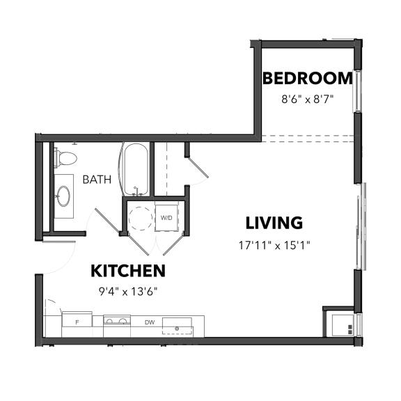 Floor Plan  Bakery Living Studio 1, apartments in Pittsburgh, Pennsylvania