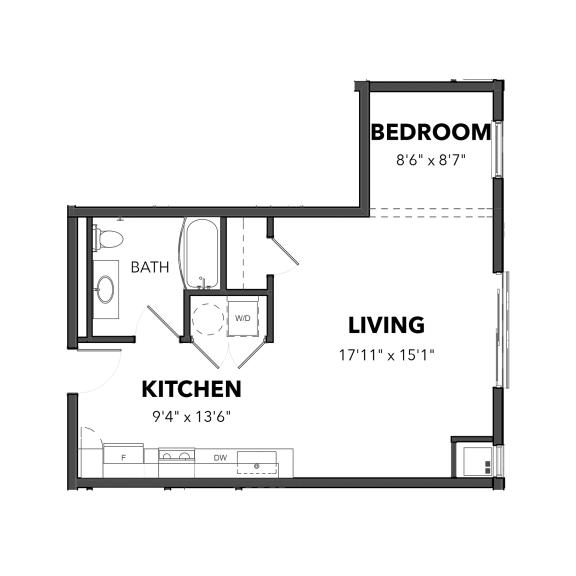 Floor Plan  Bakery Living E1, apartments in Pittsburgh, Pennsylvania