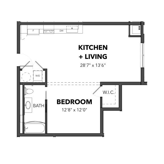 Floor Plan  Bakery Living Studio 2, apartments in Pittsburgh, Pennsylvania