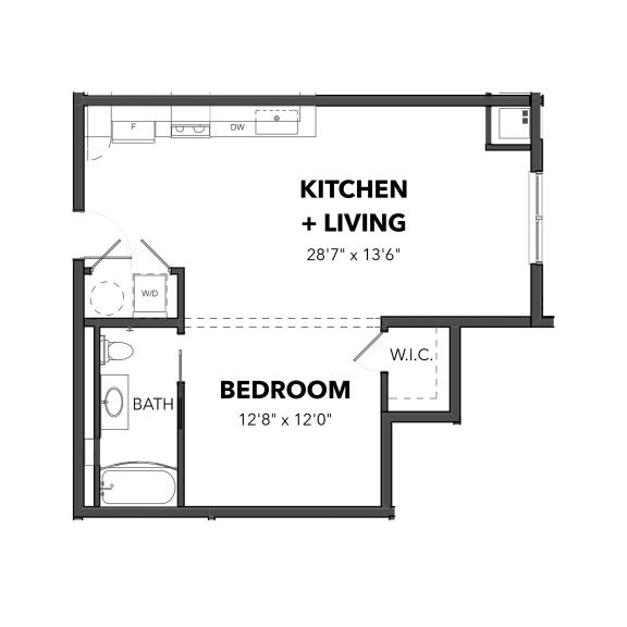 Floor Plan  Bakery Living E2, apartments in Pittsburgh, Pennsylvania