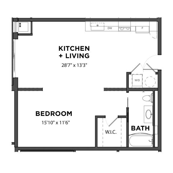 Floor Plan  Bakery Living Studio 3, apartments in Pittsburgh, Pennsylvania