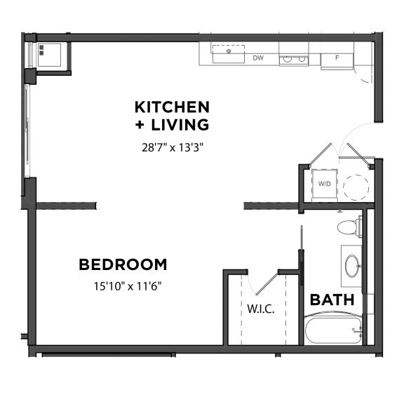 Floor Plan  Bakery Living E3, apartments in Pittsburgh, Pennsylvania