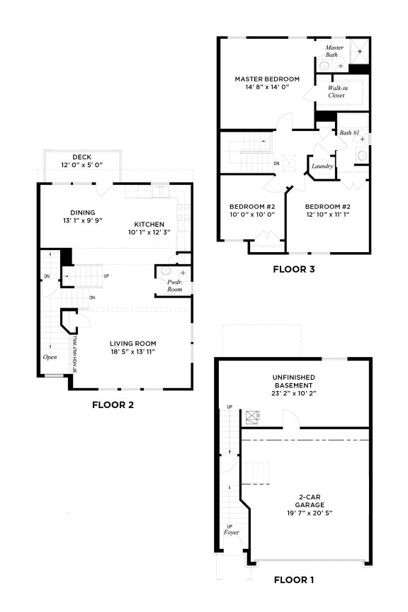 Floor Plan  The Muirfield Floorplan, Highland Village Townhomes in Ross Township, Pittsburgh, PA