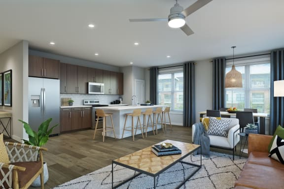 Open Living Room with Kitchen at Alta Wren, Cary, NC 27519