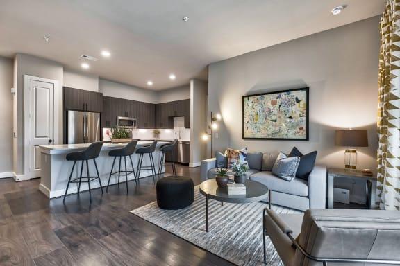 Model living room at Windsor Burnet, 10301 Burnet Rd, 78758