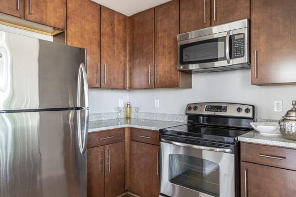 NoBe Market Apartments kitchen cabinets and appliances