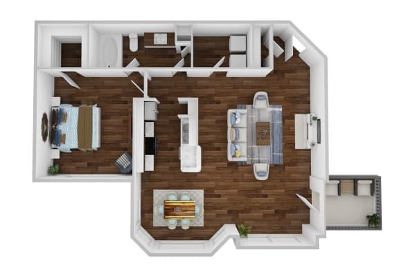 Floor Plan  A3 - 1 Bedroom Deluxe