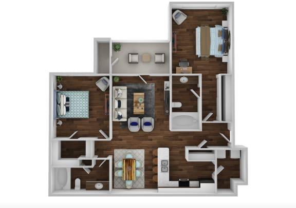 Floor Plan  B1A - 2 Bedroom Grande