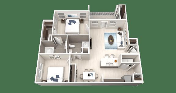 Floor Plan  B1 Floor Plan at Ethos Apartments, Austin, TX, 78744