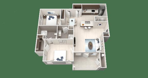 Floor Plan  B2 Floor Plan at Ethos Apartments, Austin, TX