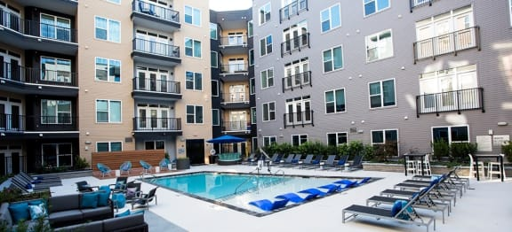 Swimming Pool With Relaxing Sundecks at The Dartmouth North Hills Apartments, Raleigh