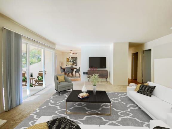 Spacious Living Room With TV at Carriage House, Fremont
