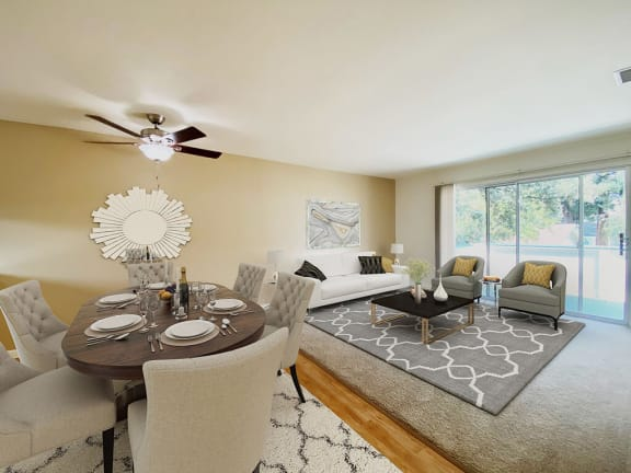 Living Room With Dining Area at Oak Pointe, California, 94538
