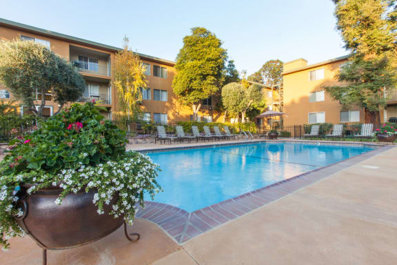 Shimmering Swimming Pool at The Monterey Apartments in San Jose, California