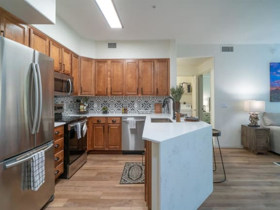 Apartments for Rent in Scottsdale, AZ - Desert Parks Vista Kitchen with stainless steel appliances and modern dark wood cabinets