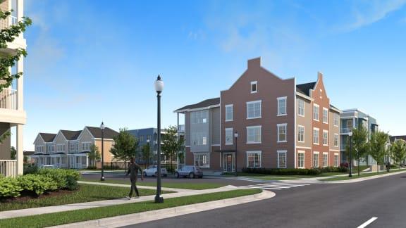 Digital rendering of corner street of three story buildings -Preservation Square