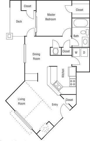 Floor Plan  A2 - 1 Bedroom 1 Bath Floorplan Image 722 Sq. Ft.