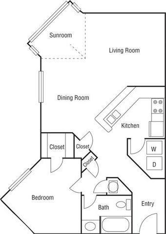 Floor Plan  A6 - 1 Bedroom 1 Bath Floorplan Image 799 Sq. Ft.