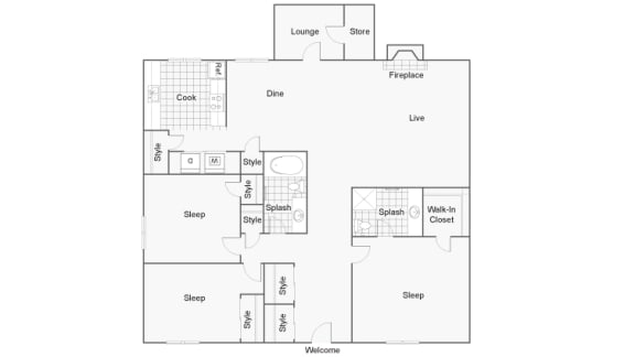 Floor Plan  Three Bed Two Bath Floor Plan at 2900 Lux Apartment Homes, Nevada, 89102