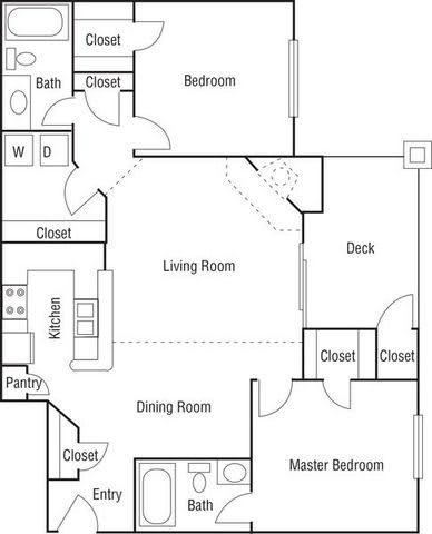 Floor Plan  B2 - 2 Bedroom / 2 Bath - 1,004 Sq. Ft. - Newly Renovated